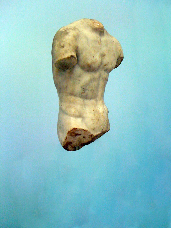 "Greek Sculpture With Blue Background, From The Series ""The Epic Love Story Of A Warrior"" © Peter Puklus"