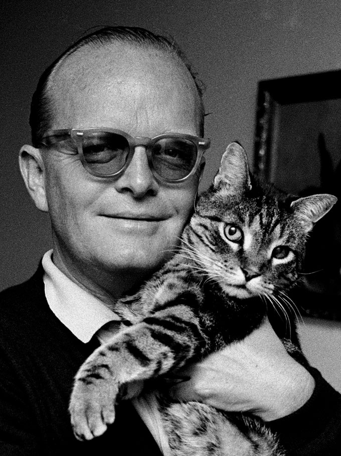 © STEVE SCHAPIRO, TRUMAN CAPOTE WITH CAT, HOLCOMB, TEXAS, 1967