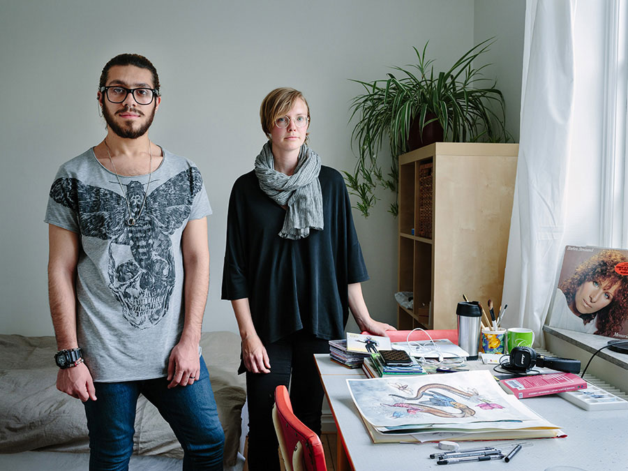 Sweden. Single Mother And Librarian, Linnea Tell, Hosts Syrian Gay Muslim Artist, Alqumit Alhamad, Who Is Now Thriving In Malmö. Photo © Aubrey Wade / UNHCR.