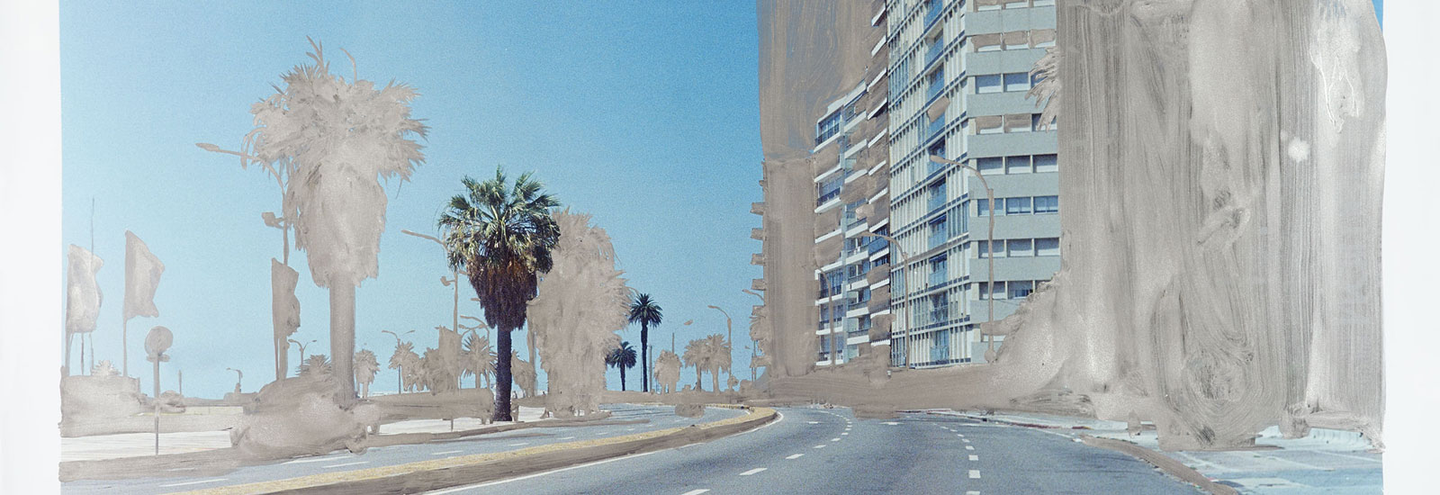 Playa Pocitos, 2016 (detail), silver pigmented gouache on hand printed photograph, 125 x 182 cm © Peter Klare
