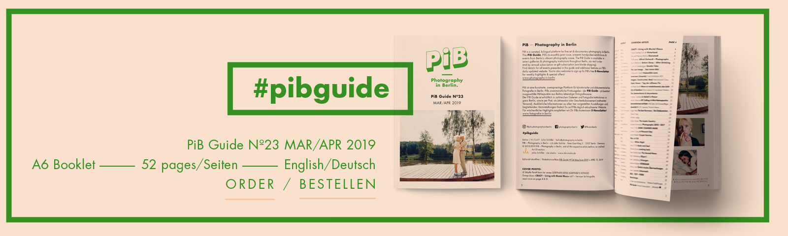 The PiB Guide Nº23 MAR/APR 2019 © PiB – Photography In Berlin. #pibguide. COVER PHOTO: At The River Nemuns, 2008, Lithuania, From The Series GÄRTNERS REISE (GÄRTNER'S VOYAGE) © Sibylle Fendt / OSTKREUZ. Part Of The Group Show »CRAZY – Living With Mental Illness« At F³ – Freiraum Für Fotografie Berlin.