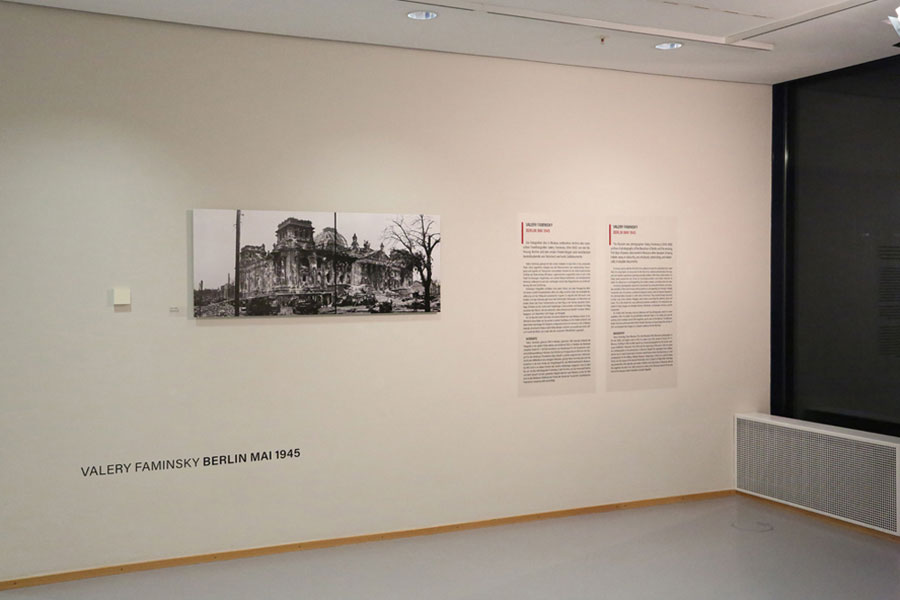 Freundeskreis Willy-Brandt-Haus E.V. »NEW ERA? Warsaw 1939 | Ukraine 1941/42 | Berlin 1945. 75 Years After The End Of The War«, Installation View At Willy-Brandt-Haus Berlin-Kreuzberg, 2020; Depicted Works: © Stadtarchiv Passau, © Dr. Norbert Moos, © Valery Faminsky / Arthur Bondar's Private Collection