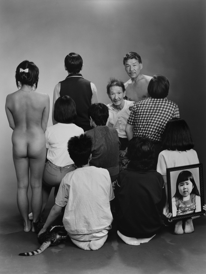 "Masahisa Fukase, From The Series ""Family"", 1971–90, Upper Row, From Left To Right: A, A Model; Toshiteru, Sukezo, Masahisa. Middle Row, From Left To Right: Akiko, Mitsue, Hisashi Daikoji. Bottom Row, From Left To Right: Gaku, Kyoko, Kanako, And A Memorial Portrait Of Miyako, 1985, Vintage Gelatin Silver Print, Original Dimensions Of The Picture: 20.2 × 25.3 Cm; Framed: 31.6 × 25 × 3.8 Cm © Masahisa Fukase Archives"